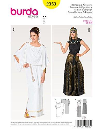 Burda 2353 Schnittmuster Kostüm Fasching Karneval Römerin & Ägypterin (Damen, Gr. 34 – 44) Level 2 leicht