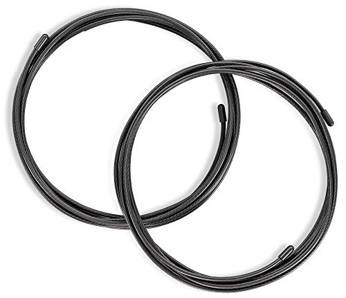 Corde à Sauter Ajustable Speed Rope + livret d'Exercices & câble de Rechange | 2 câbles Acier Ajustables, roulements à Billes Expert, poignées antidérapantes | Sport, Crossfit, Fitness, Boxe