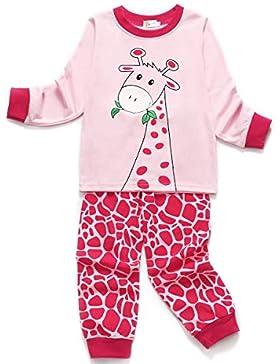 Little Hand Mädchen Zweiteiliger Schlafanzug Baumwolle Lange Nachtwäsche Tier Giraffe Kinder Pyjama