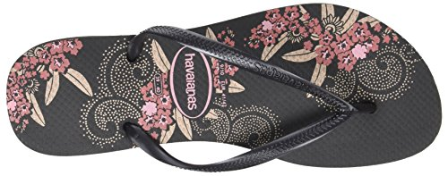 Havaianas Slim Organic 4132823, Sandali Donna Nero (Black/Dark Grey 4057)