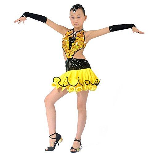 Kostüm Für Teens Kids Und - Byjia Kinder Pailletten Quaste Latin Tanz Konkurrenz Kleidung Kostüme Teen Girls Wear Kids Bühne Aufführungen Kleider Praxis Kleidung Yellow 150Cm