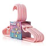HANGERWORLD 40 Solide Kunststoff Kinder-Kleiderbügel 29cm Pink Hosensteg Einkehrbungen