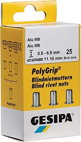 GESIPA Blindmuttern 11 x 20mm M8, Alu, 25 Stück