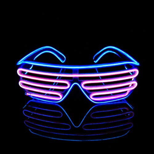 OCMCMO Gafas para fiestas, LED Luz Gafas, 2 Colores Gafas de Luminosas para Festival, Fiesta de cumpleaños, Halloween, Bar, Festival de Musica, Eres lo mas Especial, Control de Voz (Rosa+Azul)