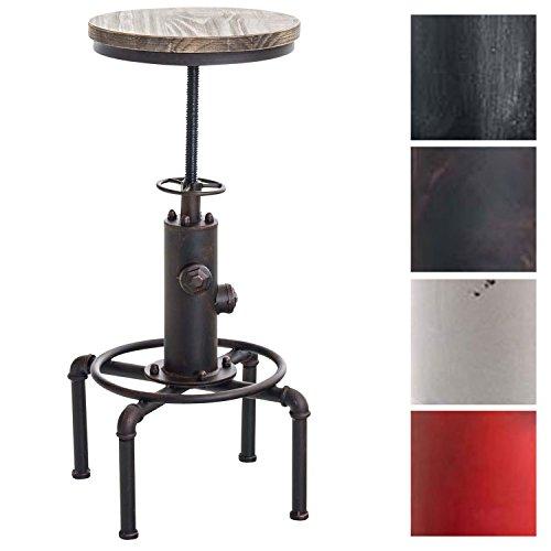 CLP Metall-Barhocker Lumos mit höhenverstellbarem Holzsitz I Thekenhocker mit Fußstütze I In verschiedenen Farben erhältlich Bronze