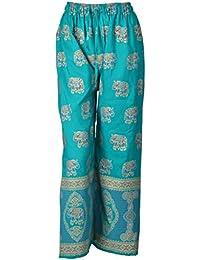 DIAMO Indian Ethnic Crepe Designer Block Gold Print Casual Wear Palazzo Pant For Women's - Block Print ( Free...