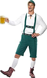 Smiffy's Men's Oktoberfest Costume Lederhosen Shorts with Braces Top and Hat, Green, X-Large