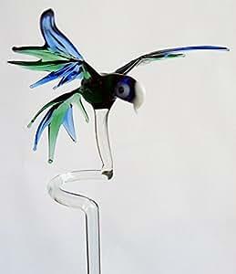 Bastoncino supporto orchidea supporto con grande pappagallo blu verde