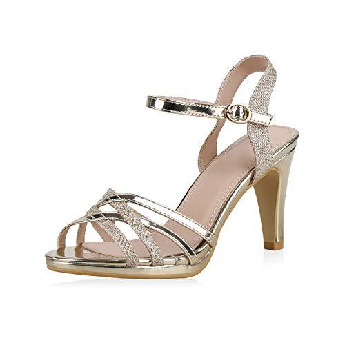 SCARPE VITA Damen Pumps Sandaletten Riemchensandaletten Elegante Absatzschuhe Metallic Schuhe Stiletto High Heels Glitzer 183231 Gold Gold 38 Gold High Heel Sandaletten