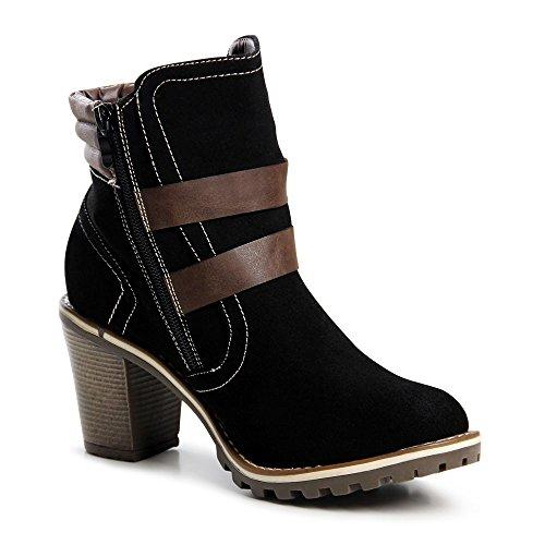 Topschuhe24 643 ankle boots tige bottines femme Noir - Noir