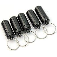 nicebuty neuen 5PCS Schwarz Wasserdicht Pillendose aus Aluminium Fall Drug Halter Schlüsselanhänger Container preisvergleich bei billige-tabletten.eu