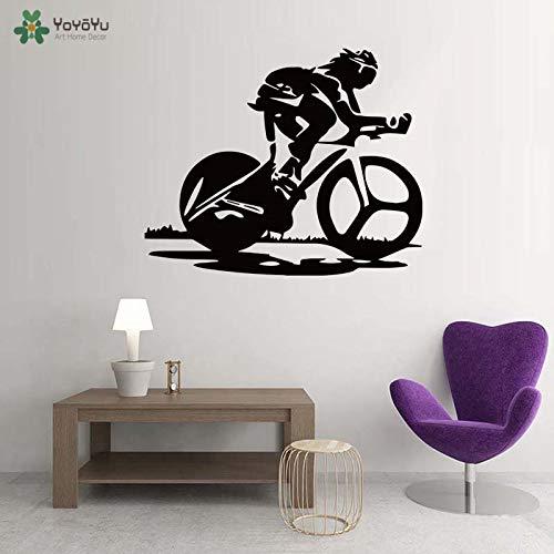 yaoxingfu Rennrad Vinyl Wandaufkleber Art Design Dekoration Abnehmbare Tapete Für Gym Sport Bar Shop Fitnessraum Q Karte Farbe 57x69 cm