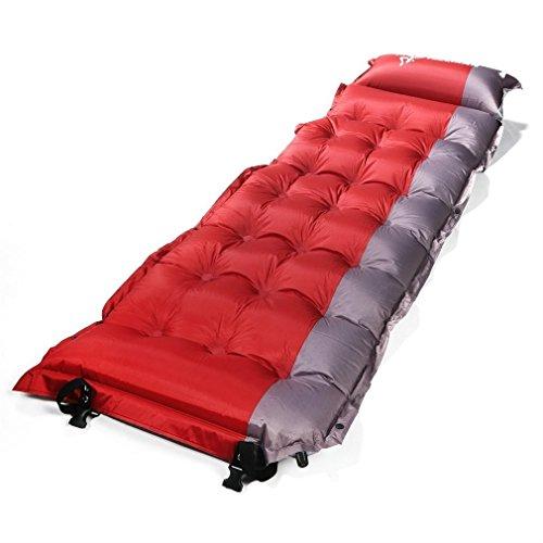 Selbst aufblasende Campingmatte, Matratze, Bett, Outad extra dick, leicht mit Kissen für Camping, Rucksackreisen, Zelten, rot