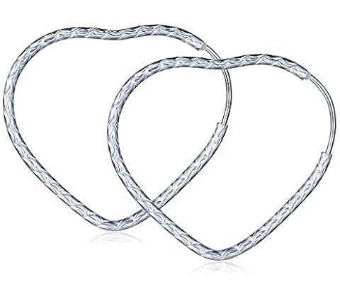 Infinite U Fashion 925 Sterling Silver Heart Hoop Drops Dangle