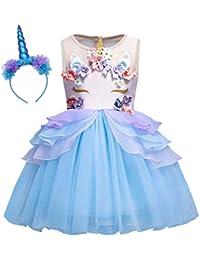 AmzBarley Unicorno Vestito da Festa Ragazza Bambina Fiore Ragazze Partito Abito  con Abiti da Damigella d 215ca430a7e