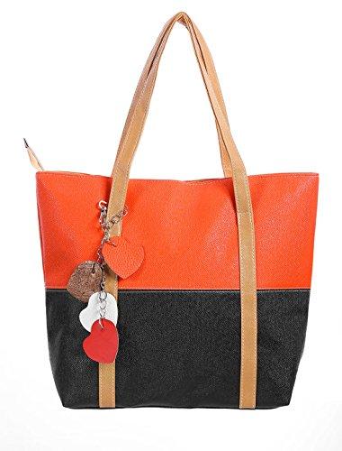 sourcingmap® Damen Zip Verschluss Farbe Block Zimmer Innen Tote Taschen schwarz orange rot (Orange Zimmer)