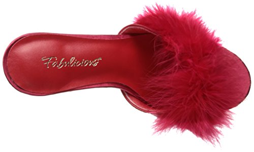 Pleaser CLASSIQUE-01F Damen Marabu Pantolette Red Pu-Fur