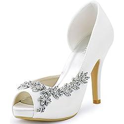 Zapato de Novia con Detalle Brillante en Blanco - Varios colores a elegir