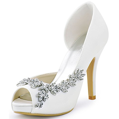 ElegantPark HP1560IAC Women's Peep Toe Platform High Heel Rhinestones Satin Wedding Party Dress Court Shoes White UK 5(EU 38)
