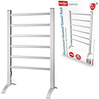 Marko Heating Towel Rail Electric Heated Clothes Warmer Rack Free Standing Wall Mount Radiator (Aluminium)