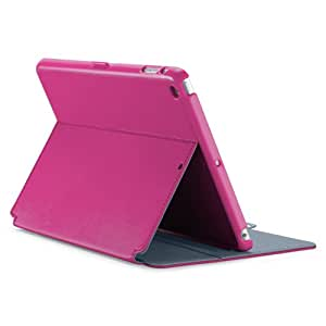 Speck StyleFolio Tablet Case Cover with Built-In Stand and Closing Tab for iPad Air (iPad 5th Generation) - Fuchsia/Nickel Grey