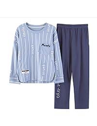 Meaeo Striped Sweet Pajamas Women Girls Homewear Conjunto De Manga Larga De Cintura Elástica Algodón Pijamas