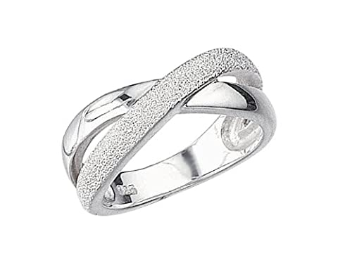 Elements Silver R702 54 Ladies' Half Diamond Cut Crossover Sterling Silver Kiss Ring - Size Medium