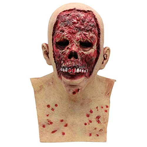 Halloween-Zombie-Latex-Maske Horror Biochemisch Trockene Leiche Teufel Latex WIG,Photocolor,Onesize (Miss Zombie Halloween)