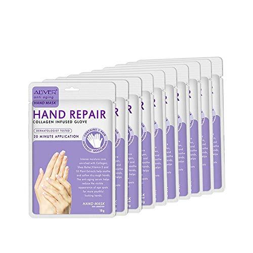 Foonee 10 Pairs Gel Moisturizing Gloves, Maschera Riparatrice Nutriente Per Le Mani, Guanti Termali Per Le Mani Con Oli Essenziali Vitamina Per Mani Asciutte, Pelle Secca, Cuticole Asciutte
