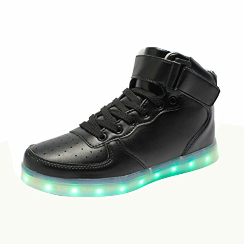 MatchLife Unisex USB Rechargeable LED Chaussure Lumineuse Clignotant Sport Basket Montante Et Basse Sneaker Style1-Noir