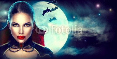 otiv: Fantasy Halloween woman portrait. Beauty sexy vampire #122887149 - Bild als Klebe-Folie - 3:2-60 x 40 cm/40 x 60 cm (Sexy Halloween Bilder)