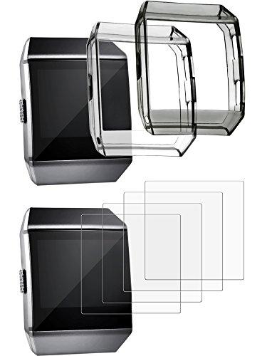 TecUnite Étui Protection avec Protecteurs d'Écran pour Fitbit Ionic, Incluant 2 Couvercles Résistants aux Chocs et 4 Protecteurs d'Écran Résistants aux Rayures