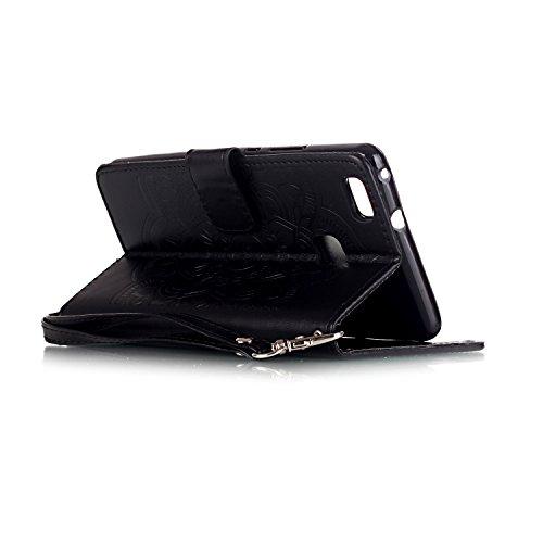 Custodia iPhone 7,Cover iPhone 7, YingC-T Elegante 3D Creativo di Goffratura Campanula Dreamcatcher Puro Oro Custodia in PU pelle Stampata Diamanti Glitter Bling Brillantini Rigida Disegno Premium di  Nero