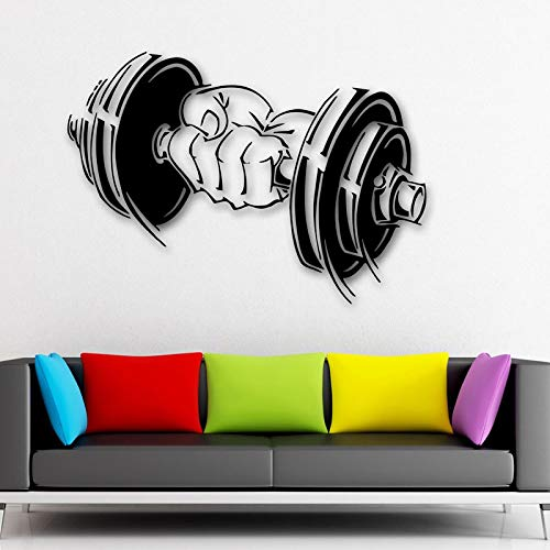 WWYJN Art Decor Vinyl Decal Dumbbell Muscle Sport Gym Arm Fitness Wall Stickers Removable Waterproof81x57cm