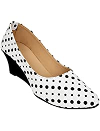 Supply King Polka Pattern White & Black Classic Ballerina Flats Womens Ballerina Ballet Flat Shoes Solids( Size...
