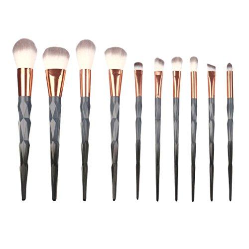 Fête des Mères Pinceau Maquillage Licorne,❤️ ♬♬ ❤️ LMMVP Coloré Rainbow Foundation Eyeliner Ensemble de brosses Pinceaux de maquillage(10pcs) (10PCS, 768 Gris)