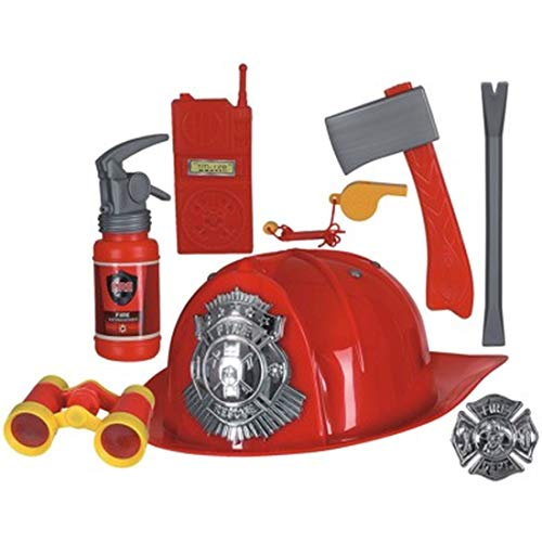 NET TOYS Mehrteiliges Set Kostüm-Zubehör Feuerwehrmann | Rot-Grau | Originelle Kinder-Accessoires Feuerwehr | Ideal für Kinder-Fasching & Kinderfest