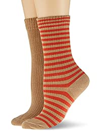 Esprit Sporty Stripe 2-Pack Calcetines, Braun (Camel 5038), 35-38 para Mujer