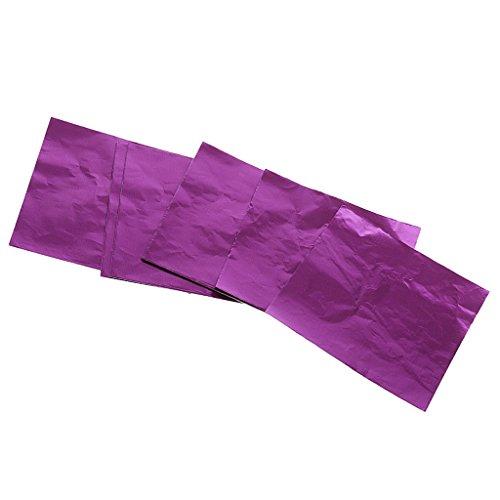 FITYLE 100er Pack Folie Süßigkeiten Schokolade Papier Aluminium Folie Packung Geschenk Verpackung deko - Lila (Schokolade, Papier Verpackung,)