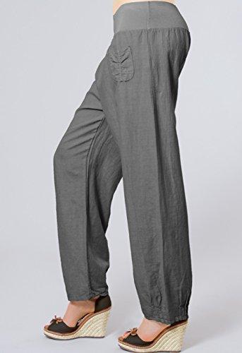 CASPAR KHS006 leichte bequeme Damen Sommerhose / Leinenhose Größen 36 S bis 46 XXXL Dunkelgrau