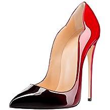 2edd37d1dfc52 EDEFS Escarpins Femmes - Noir - Stiletto - Plusieurs Coloris- Brillant  Synthétique - Talon Aiguille
