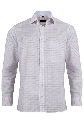 Eterna long sleeve Shirt COMFORT FIT Twill checked Rosso/Bianco