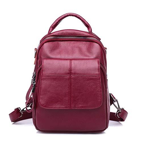 Harlls Stilvolle Taschen Einfache Casual Rucksack Schultertasche Allgleiches Stil Große Kapazität PU-Leder Für Reisen Dating Daily Outdoor - Weinrot