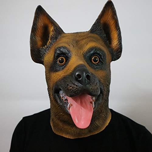 YXXHM- Police Dog Wolf Hundemaske Roaring Shepherd Dog Hunting Headgear Party Animal Requisiten Naturlatex