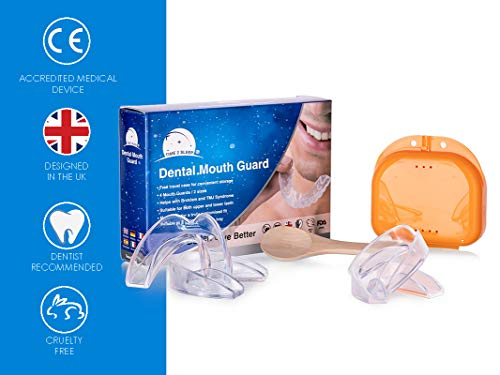 Time2sleep Zahnschiene bei Zähneknirschen - Knirscherschiene für Nachts -Schnarchschiene inkl. Box für einen besseren Schlaf - Hochwertiger Mundschutz beiSchnarchen - 4 Stück -