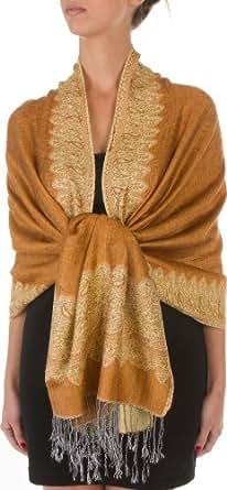 70 X 28 Border Pattern Double Layer Woven Pashmina Feel Shawl / Wrap / Stole - Brown