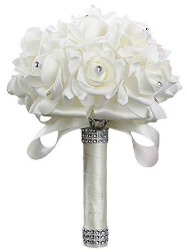 La vogue-wedding bouquet rosa fiori strass sposa in seta artificiale avorio