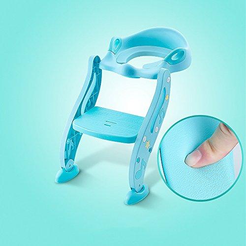 LJHA Tabouret pliable Chaise de Commode d'enfants/échelle de toilette de bébé/siège de toilette antidérapant d'enfant en bas âge 40 * 64 Cm chaise patchwork (Couleur : B-Blue)