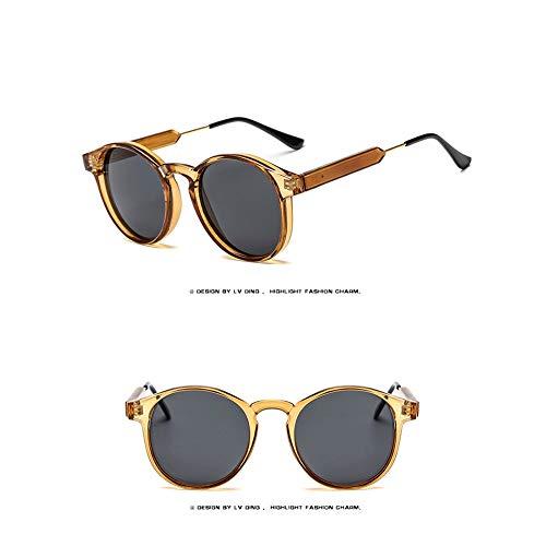 WJFDSGYG Runde Sonnenbrille Frauen Männer Designer Kunststoffrahmen Sonnenbrille Uv400