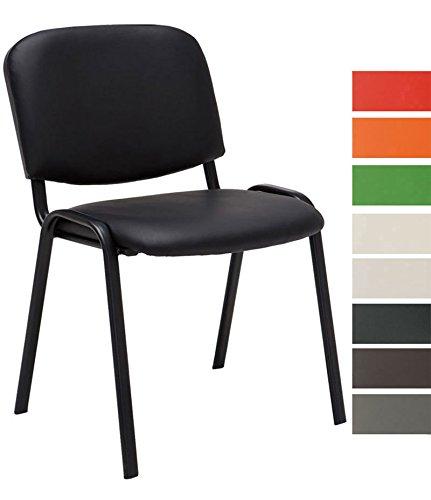 Clp sedia visitatore ken imbottita | sedia attesa imbottita in similpelle | sedia impilabile con portata max 120 kg | sedia classica con telaio in metallo, 4 gambe | sedia conferenza nero